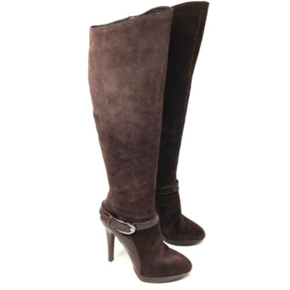 0367573f7e054 Caressa Hanson Brown Suede Knee High Heeled Boots